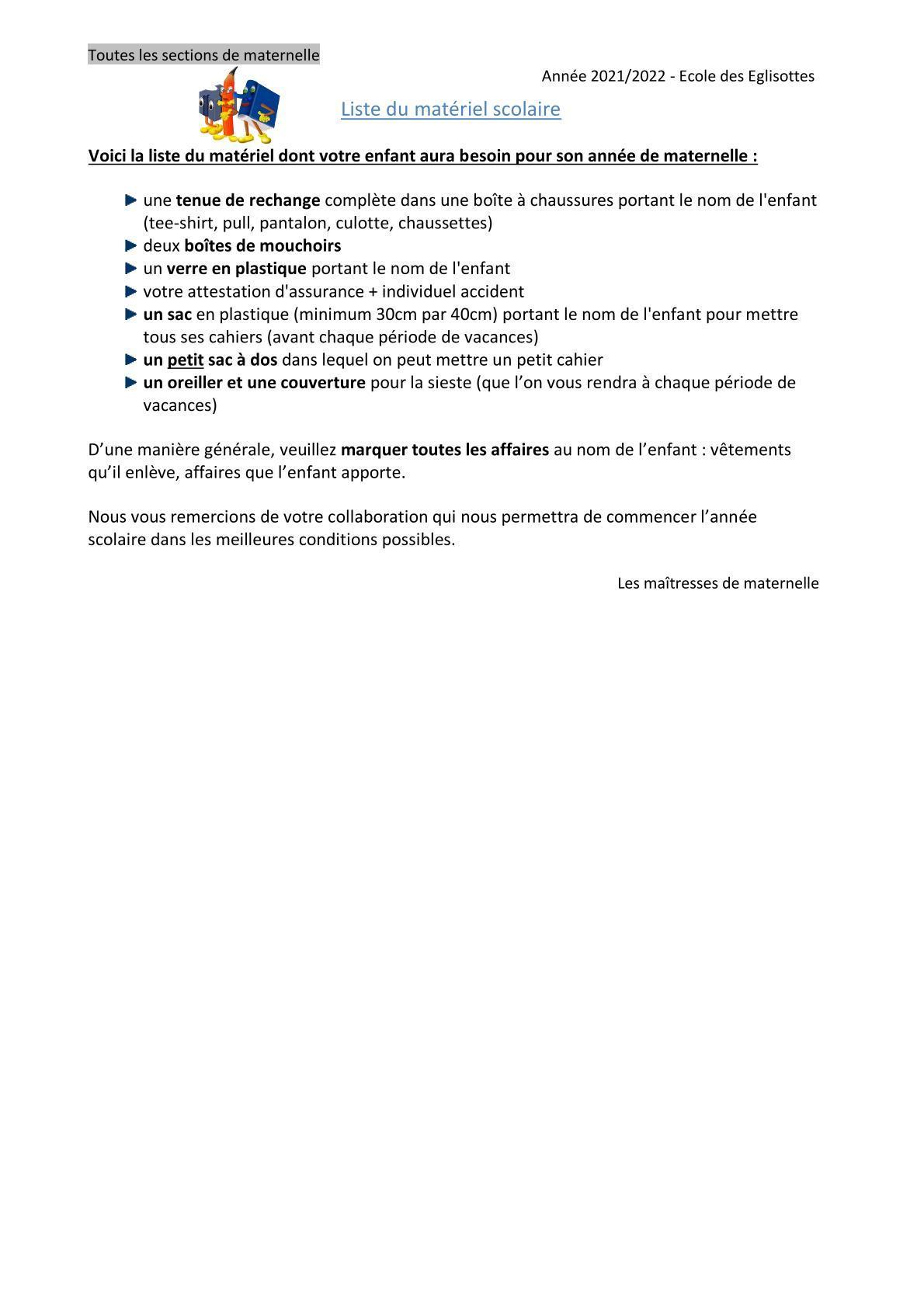 Liste fournitures maternelles